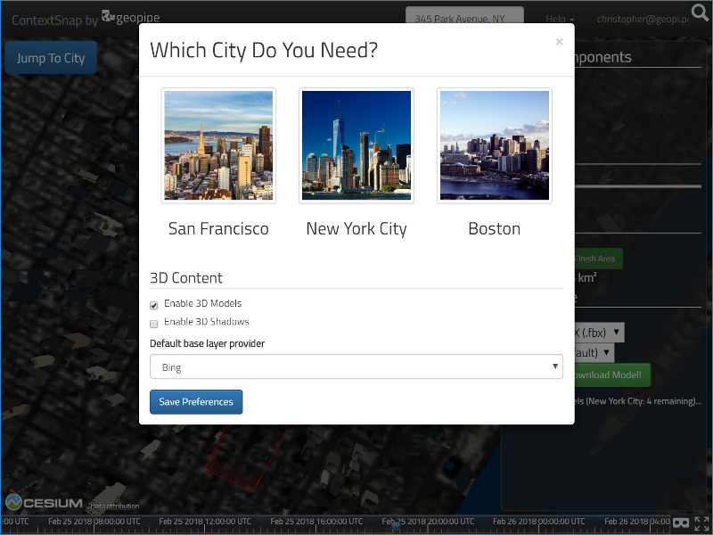 Selecting a city with the Geopipe ContextSnap tool.