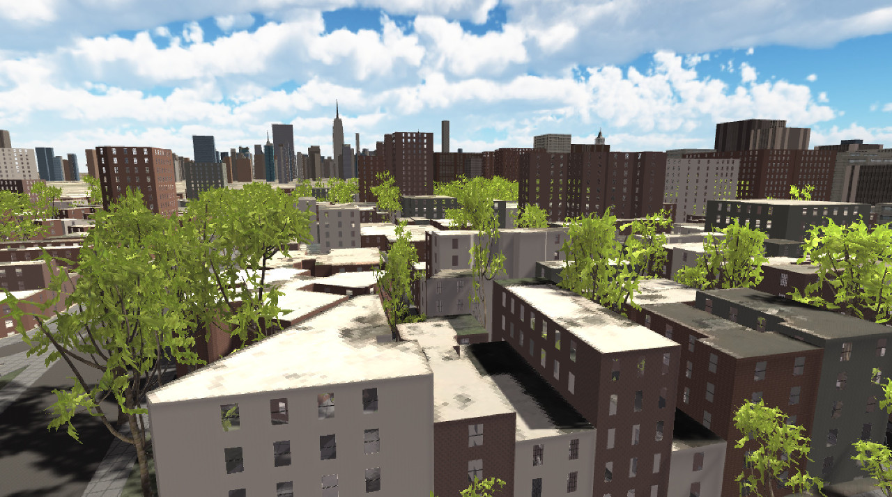 A view over Geopipe's virtual New York City in the Unity game engine