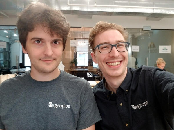 Geopipe cofounders Christopher and Thomas start Techstars on July 10th, 2017.