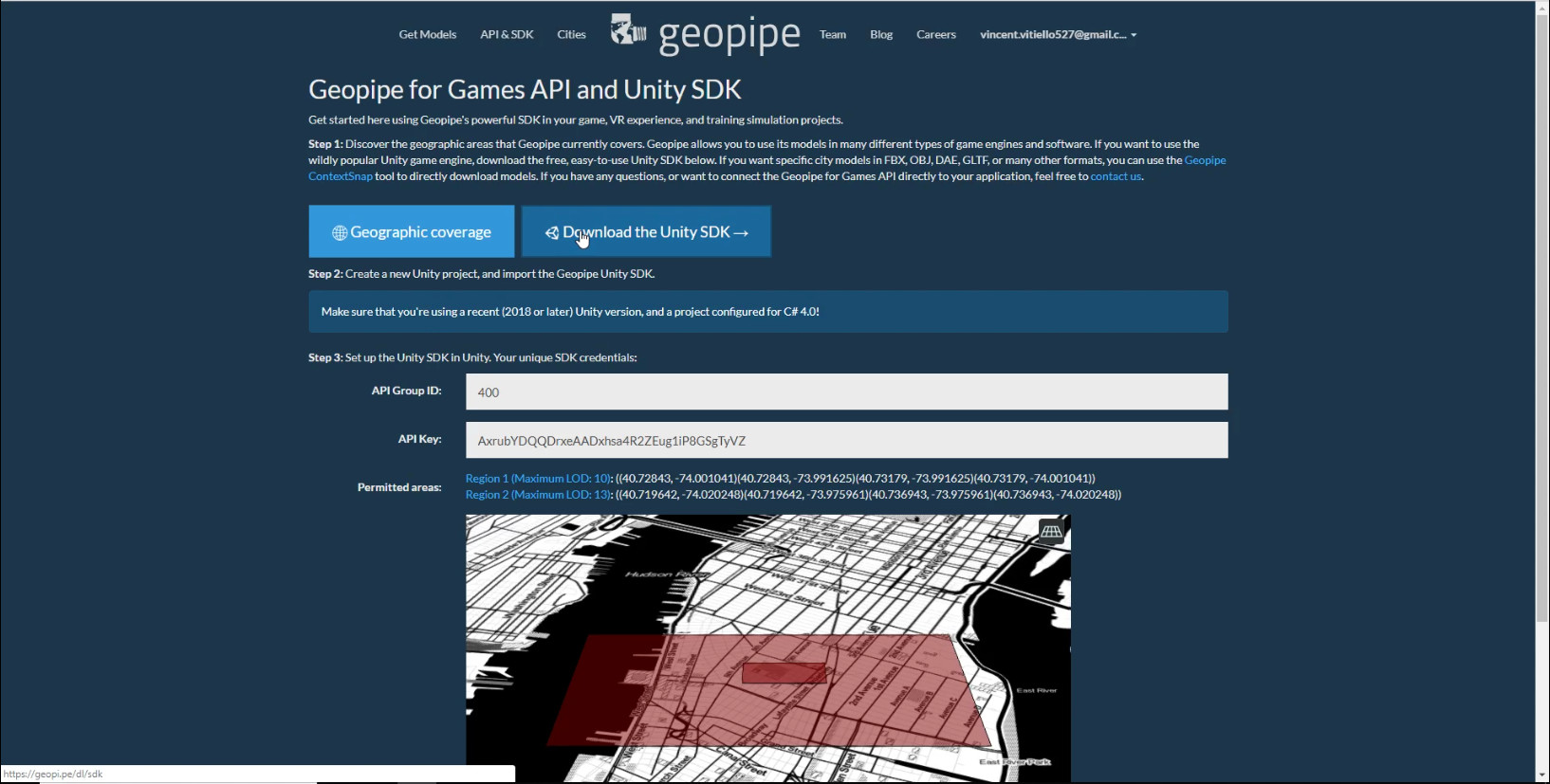 Geopipe's Get SDK page, visible to logged-in users