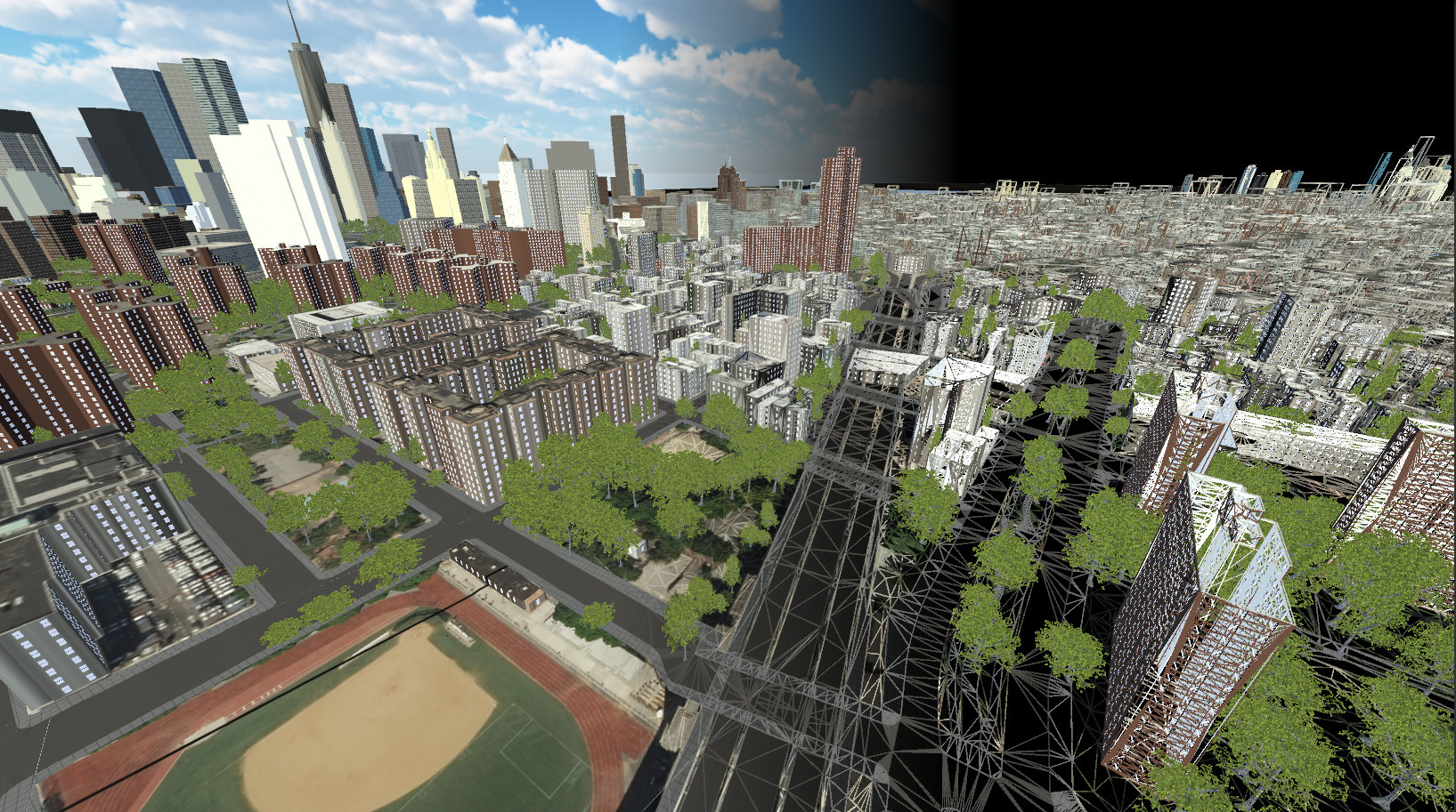 Geopipe's city models, shown with solid and wireframe rendering, demonstrating optimizations for fast performance and high visual quality