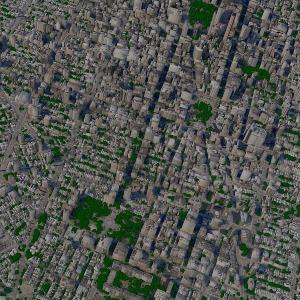 A large-scale view of several square miles of Geopipe's generated model of Manhattan, containing thousands of textured buildings and trees set on accurate terrain.